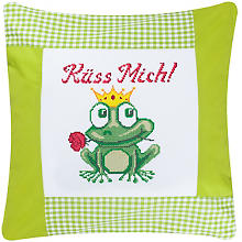 Coussin à broder 'grenouille'