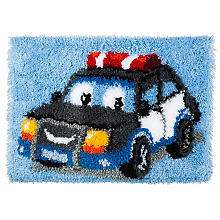 Tapis au point noué 'voiture de police', 53 x 39 cm