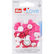 Prym Boutons pression 'Color Snaps coeur', rose vif/multicolore