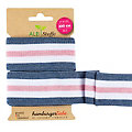 "Albstoffe by buttinette Bio-Band ""Stripe Me College"", jeans/weiß/rosa, 2 m"