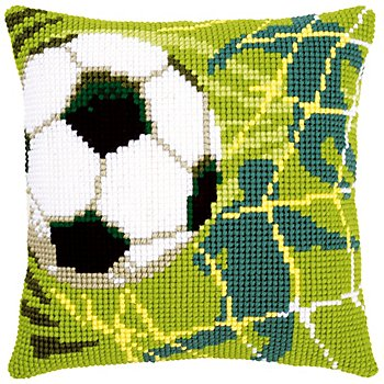 Devant de coussin à broder au point de croix 'football'
