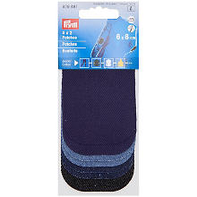 Lot de 8 mini-renforts Prym, jeans, 8 x 6 cm