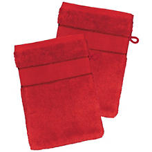 2er-Pack buttinette Walk-Frottier-Waschhandschuh, rot