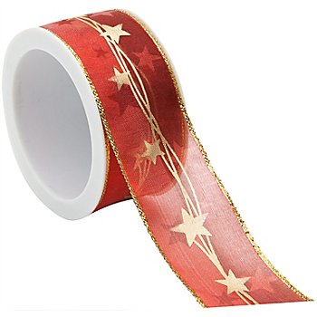 Sterneband, rot-gold, 40 mm, 5 m