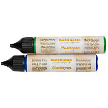 buttinette Plusterpen, blau/grün, 2x 28 ml