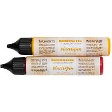 buttinette Plusterpen, rot/gelb, 2x 28 ml