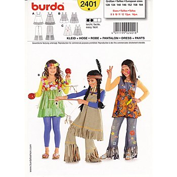 burda schnitt 2401 hawaii hippie und indianer m dchen online kaufen buttinette karneval shop. Black Bedroom Furniture Sets. Home Design Ideas