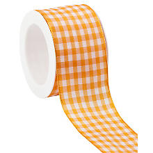 Stoff-Karoband, orange, 40 mm, 5 m