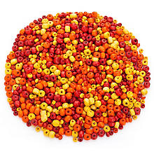 Set de perles en bois, rouge/jaune/orange, 3 et 6 mm Ø, 50 g