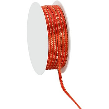 Satinband, rot-gold, 3 mm, 20 m