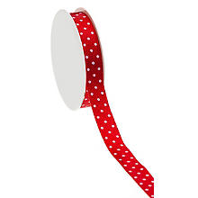 Ruban satin 'pois', rouge/blanc, 15 mm, 10 m