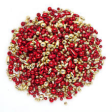 Set de perles, rouge/or, 80 g