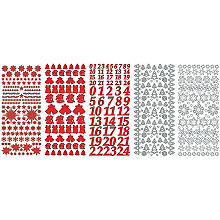 Set stickers à relief 'Noël', rouge/blanc, 23 x 10 cm, 5 feuilles