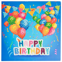 Kit broderie diamant carte de vœux 'Happy birthday'