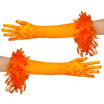 Handschuhe Glamour lang, orange