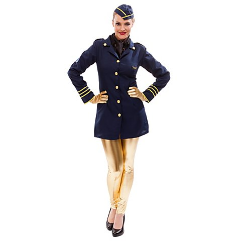 Stewardess Kostüm, marine/gold