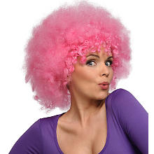 Perruque afro, rose fluo