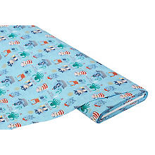 Tissu coton 'pirate Timmy', bleu multicolore
