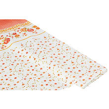 Linge de table épongeable - toile cirée 'bordure de roses', orange multicolore