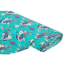 Tissu French Terry 'splendeur florale', turquoise