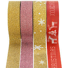 Washi-Tape, rot-gold, 15 mm, 23 m