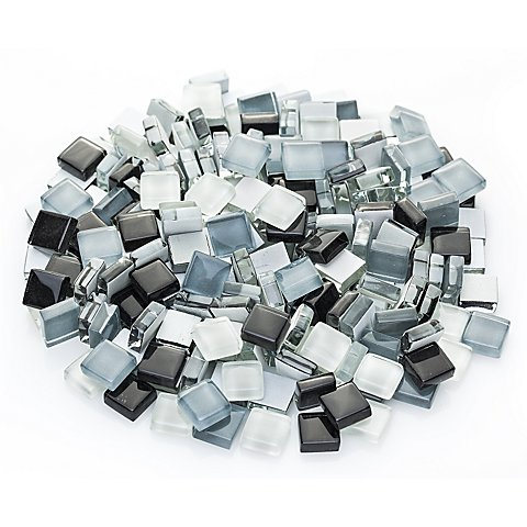 Softglas-Mosaik, grau-mix, 10 x 10 mm
