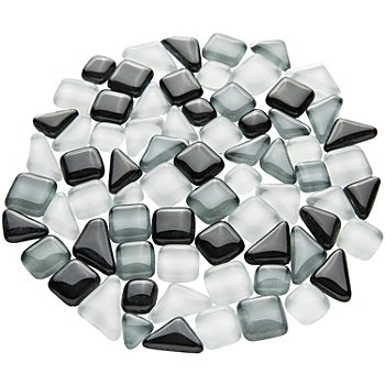 Softglas-Mosaik, grau-mix, polygonal, 10 - 20 mm, 200 g