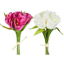 Bouquets de tulipes artificielles, rose vif/blanc, 20 cm