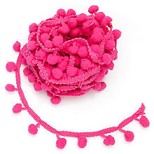 Galon de pompons, rose vif
