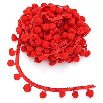 Galon de pompons, rouge
