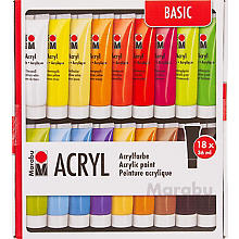 Marabu Acrylfarben-Set, 18x 36 ml