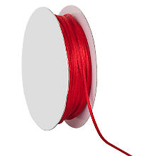 Cordelette en satin, rouge, 2 mm, 20 m