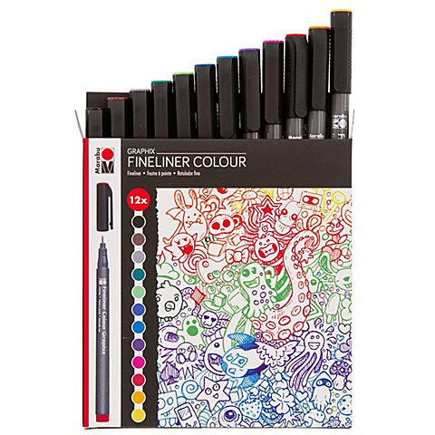 Graphix Fineliner Colour Doodle Supreme, 12 tlg.