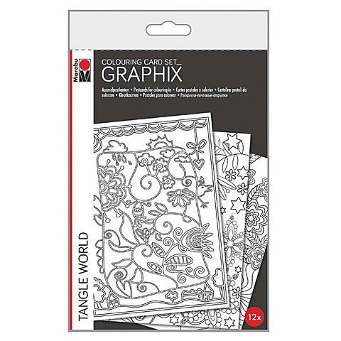 Graphix Ausmalpostkarten Tangle World, 12tlg.