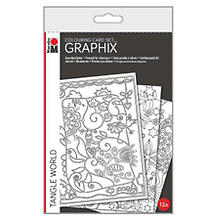 Graphix cartes postales à colorier 'Tangle World', 12 pcs.