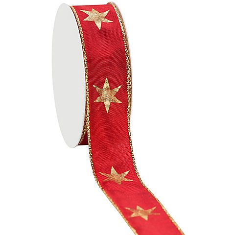 Stoffband Sterne, rot-gold, 25 mm, 5 m