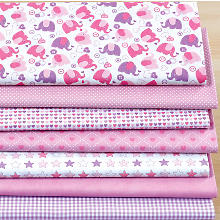 Lot de 7 coupons de tissu patchwork 'Baby Girl', rose/violet