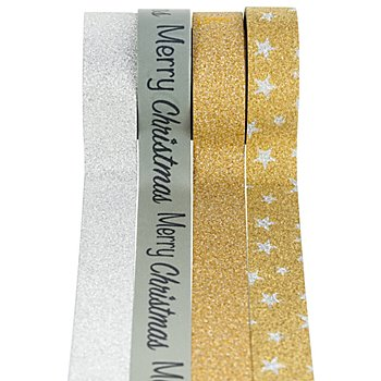 Washi-Tape, silber-gold II, 15 mm, 23 m