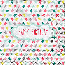 Papierserviette 'Happy Birthday mit Sternchen'