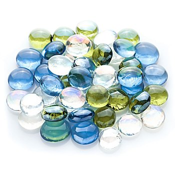 Glas-Nuggets-Mix, blau-grün-transparent, 15 - 20 mm, 200 g