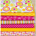 "Lot de 7 coupons de tissu patchwork ""mandala"", orange/rose vif"
