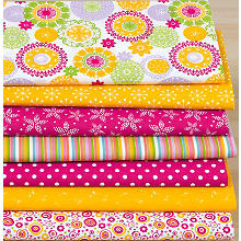 Lot de 7 coupons de tissu patchwork 'mandala', orange/rose vif