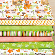 Lot de 7 coupons de tissu patchwork 'Smile and fly'
