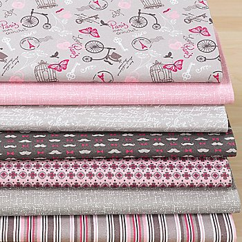 Lot de 7 coupons de tissu patchwork 'Vintage Paris'