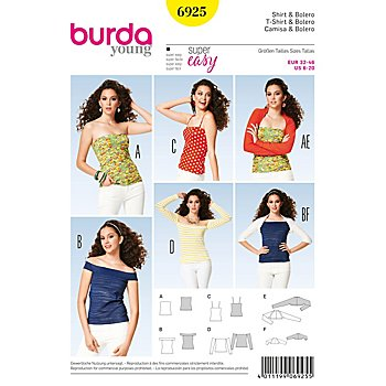burda Schnitt 6925 'Shirt & Bolero Young'