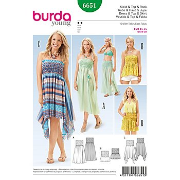 burda Schnitt 6651 'Smokkleid & Rock Young'
