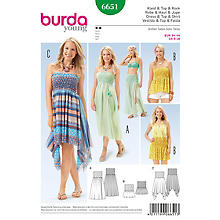Patron burda 6651 'Robes smock & Jupes Young'