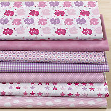 Lot de 7 coupons de tissu patchwork 'bébé fille', rose/multicolore
