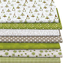 Lot de 7 coupons de tissu patchwork 'lutins', vert multicolore