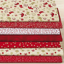Lot de 7 coupons de tissu patchwork 'ange', rouge/or